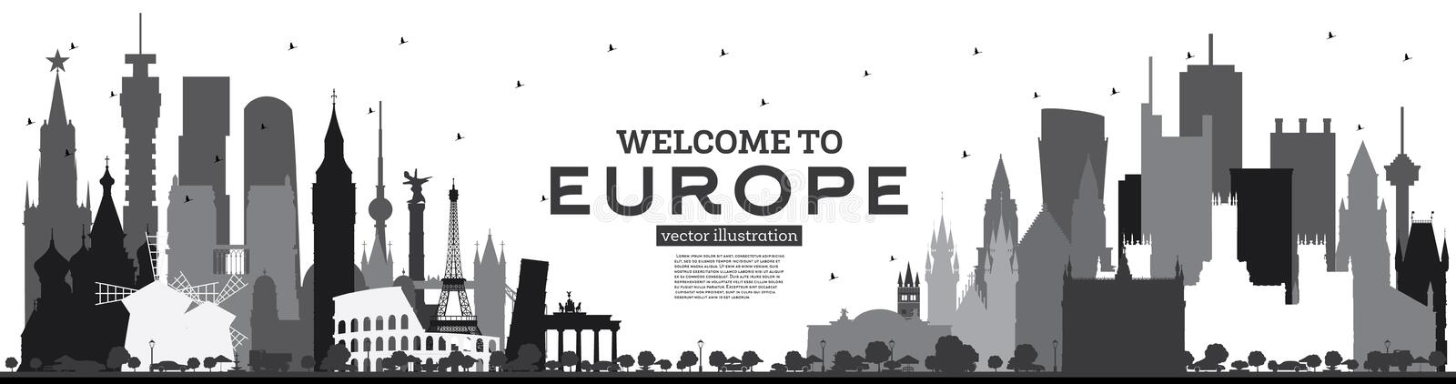Welcome to Europe Skyline Silhouette with Black Buildings Isolated on White. Vector Illustration. Tourism Concept with Historic Architecture. Europe Cityscape vector illustration