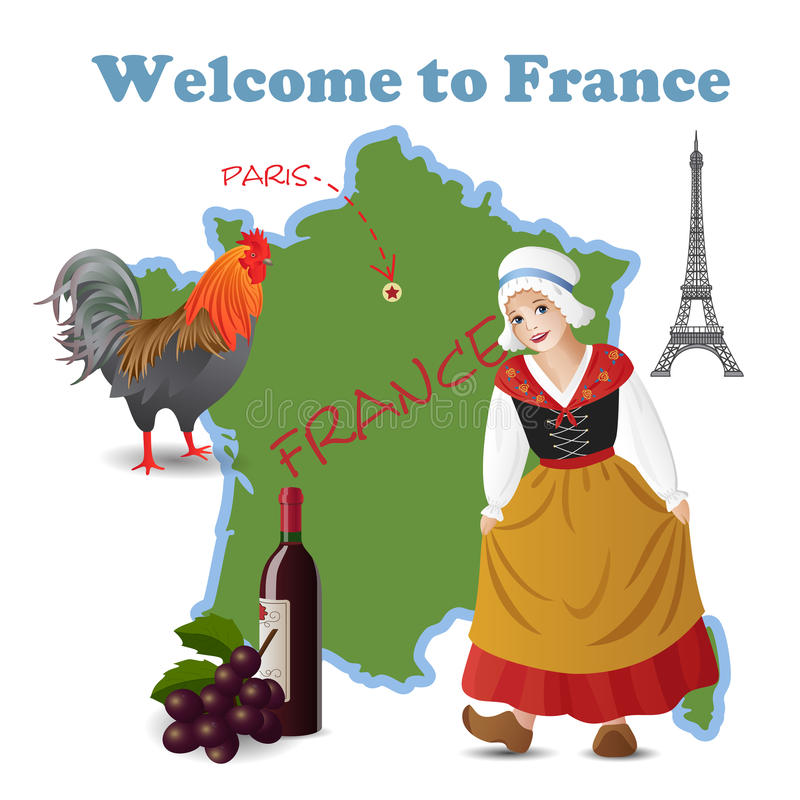 Download Welcome to France stock vector. Illustration of dress - 25323110