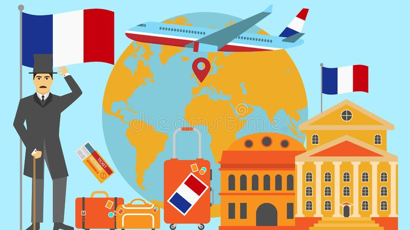Welcome to France postcard. Travel and safari concept of Europe world map vector illustration with national flag vector illustration