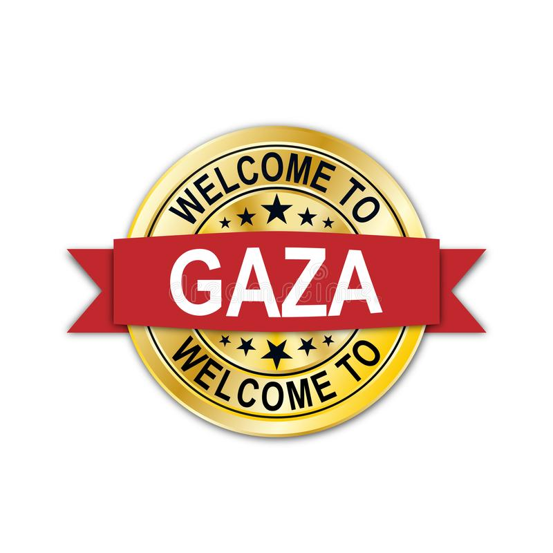 Welcome to gaza gold medal seal emblem. Welcome to gold medal seal emblem on white background stock illustration