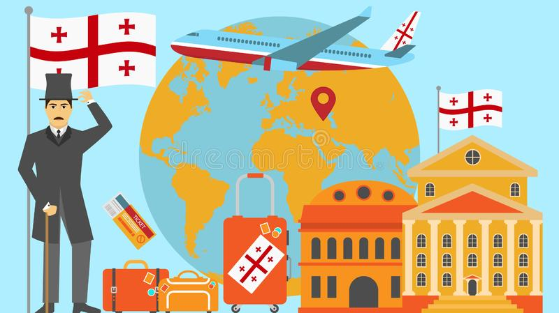 Welcome to Georgia postcard. Travel and safari concept of Europe world map vector illustration with national flag. Welcome background vector illustration
