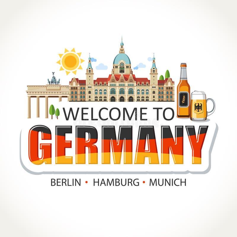 Germany lettering sights symbols landmarks. Welcome to Germany lettering sights symbols landmarks culture illustration beer architecture print sticker layout vector illustration