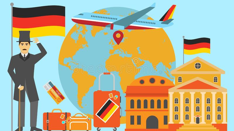 Welcome to Germany postcard. Travel and safari concept of Europe world map vector illustration with national flag. Welcome background royalty free illustration