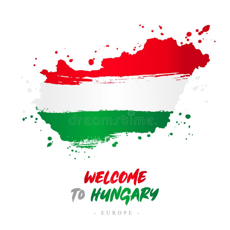Welcome to Hungary. Flag and map of the country. Welcome to Hungary. Europe. Flag and map of the country of Hungary from brush strokes. Lettering. Vector vector illustration