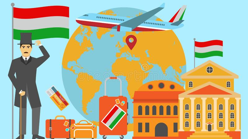 Welcome to Hungary postcard. Travel and safari concept of Europe world map vector illustration with national flag. Welcome background royalty free illustration