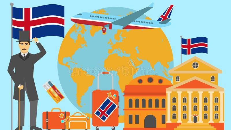 Welcome to Iceland postcard. Travel and safari concept of Europe world map vector illustration with national flag. Welcome background vector illustration