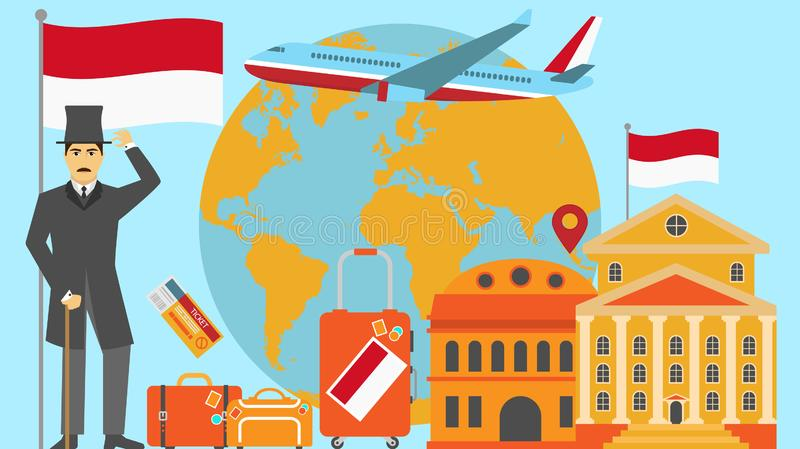 Welcome to Indonesia postcard. Travel and safari concept of Europe world map vector illustration with national flag. Welcome background stock illustration