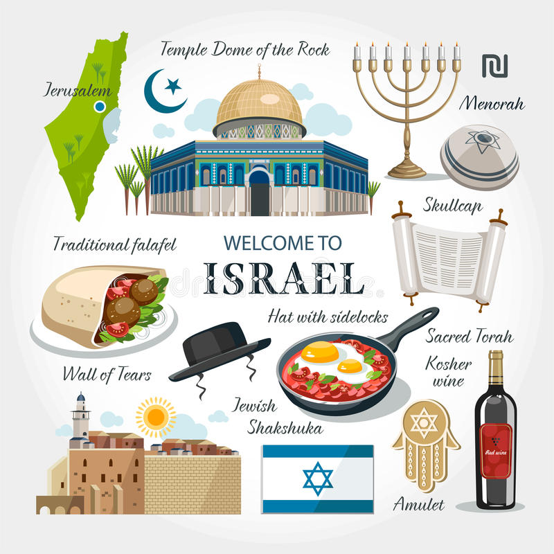 Welcome to Israel. Objects symbols set collection travel pace vector illustration