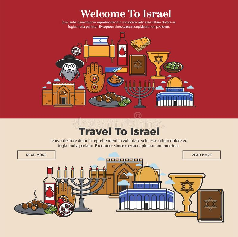 Welcome to Israel promo banners set with national symbols vector illustration
