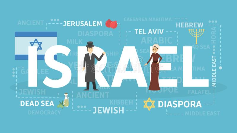 Welcome to Israel. Visit cultural and beautiful cointry vector illustration