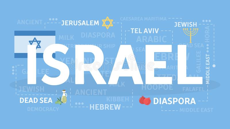 Welcome to Israel. Visit cultural and beautiful country stock illustration