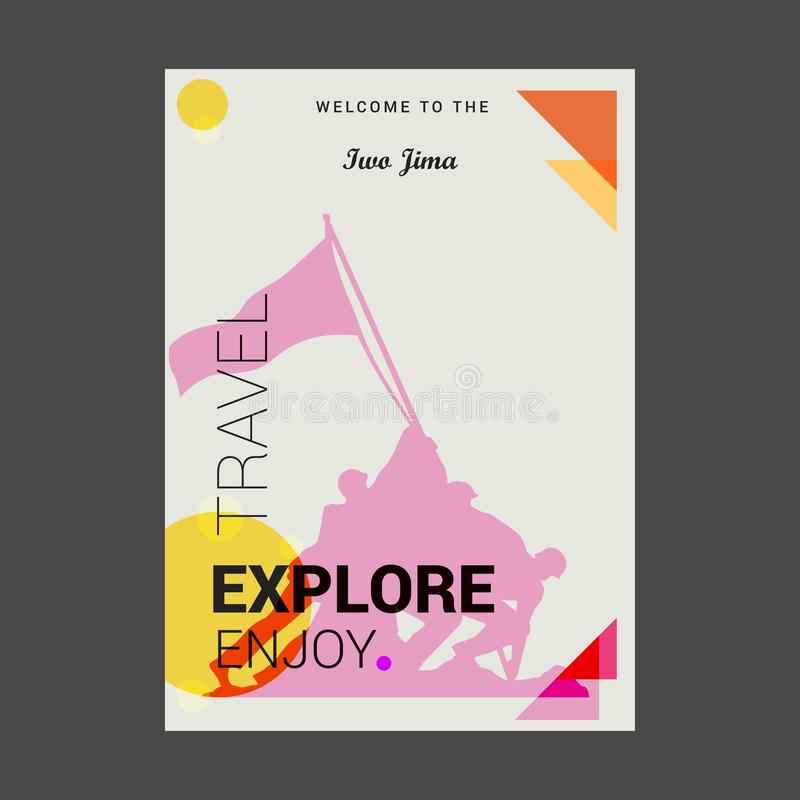 Welcome to The Iwo Jima, USA Explore, Travel Enjoy Poster Template royalty free illustration