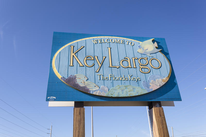 Welcome to Key Largo sign, Florida. Key Largo, Fl, USA - March 16, 2017: Welcome to Key Largo sign at the highway number one in Florida, United States stock photography