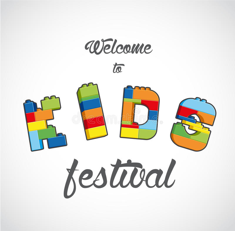 Welcome to Kids festival invite template. Vector art stock illustration