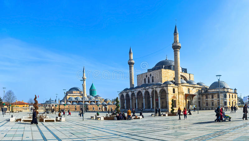 Welcome to Konya. KONYA, TURKEY - JANUARY 20, 2015: The central square of the old town with the Mevlana Museum on the background and Selimiye Mosque, on January royalty free stock photography