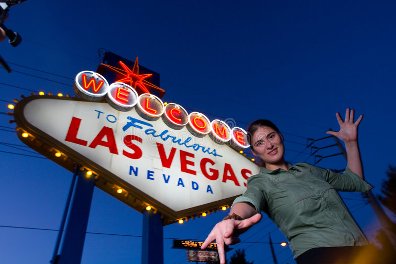 Download Welcome to Las Vegas! stock image. Image of female, greeting - 2540029