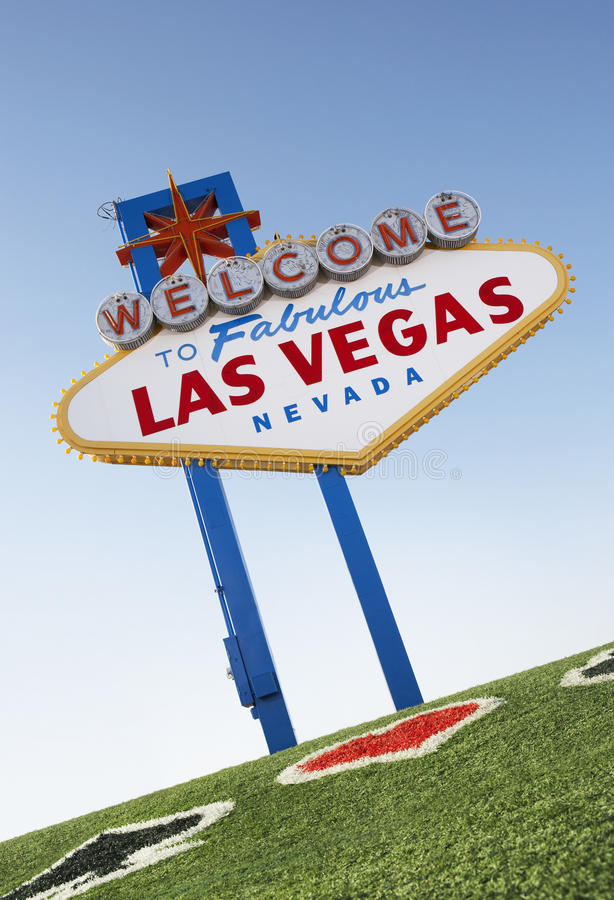Download Welcome To Las Vegas Sign With Playing Card Suits In Grass Stock Photo - Image of location, city: 30843942