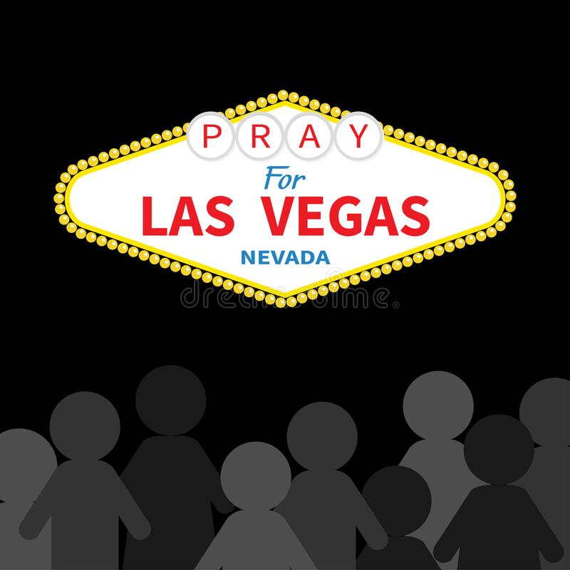 Welcome to Las Vegas sign. Pray for LV Nevada. October 1, 2017. People silhouette. Tribute to victims of terrorism attack mass sho. Oting. Helping concept. Flat royalty free illustration