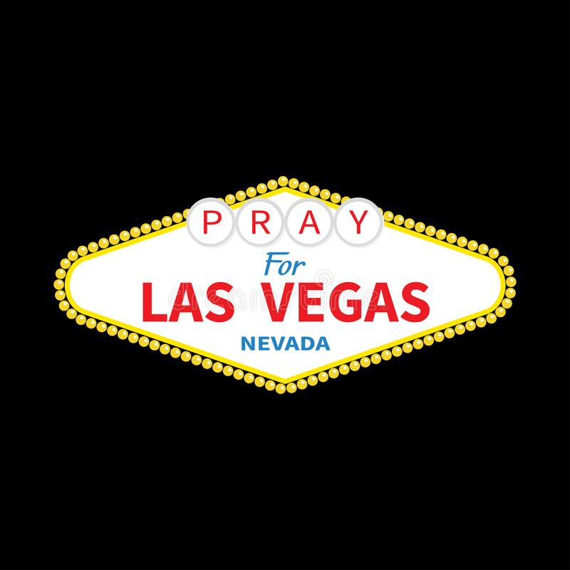 Welcome to Las Vegas sign. Pray for LV Nevada. October 1, 2017. Tribute to victims of terrorism attack mass shooting.. Support for. Volunteering. Helping royalty free illustration