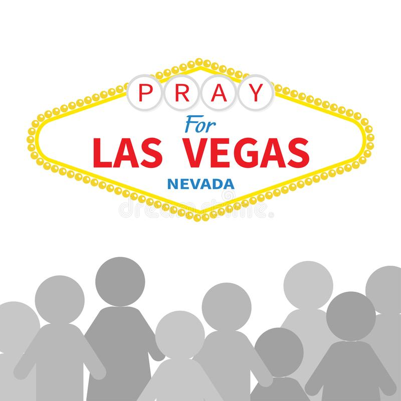 Welcome to Las Vegas sign. Pray for LV Nevada. People silhouette. Tribute to victims of terrorism attack mass shooting. October 1,. 2017. Helping concept. Flat vector illustration
