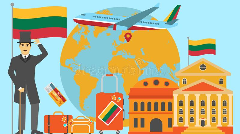Welcome to Lithuania postcard. Travel and safari concept of Europe world map vector illustration with national flag. Welcome background vector illustration