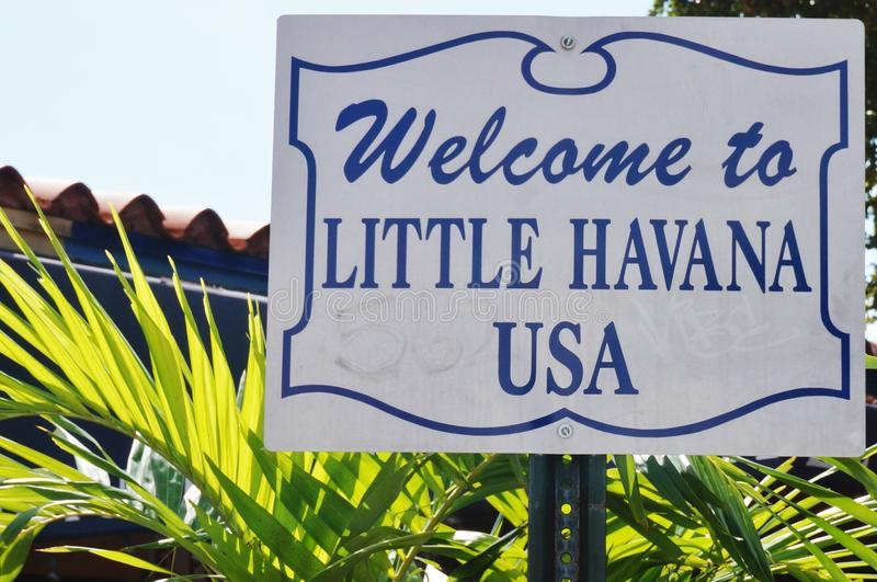 Welcome to Little Havana USA sign in Miami, Florida royalty free stock photos