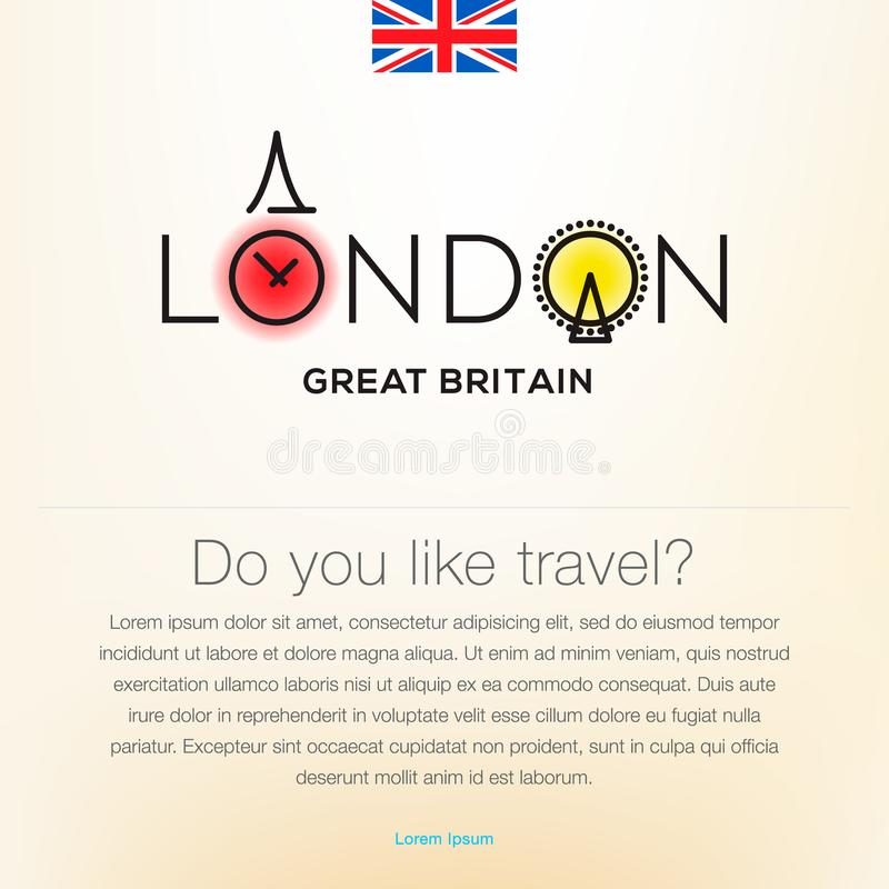 Welcome to London, Great Britain, travel desing background, poster, vector illustration. vector illustration