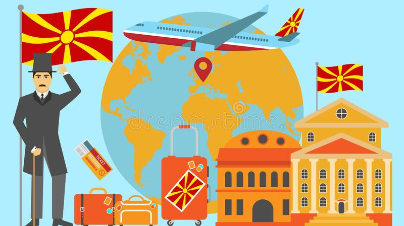 Welcome to Macedonia postcard. Travel and safari concept of Europe world map vector illustration with national flag. Welcome background stock illustration