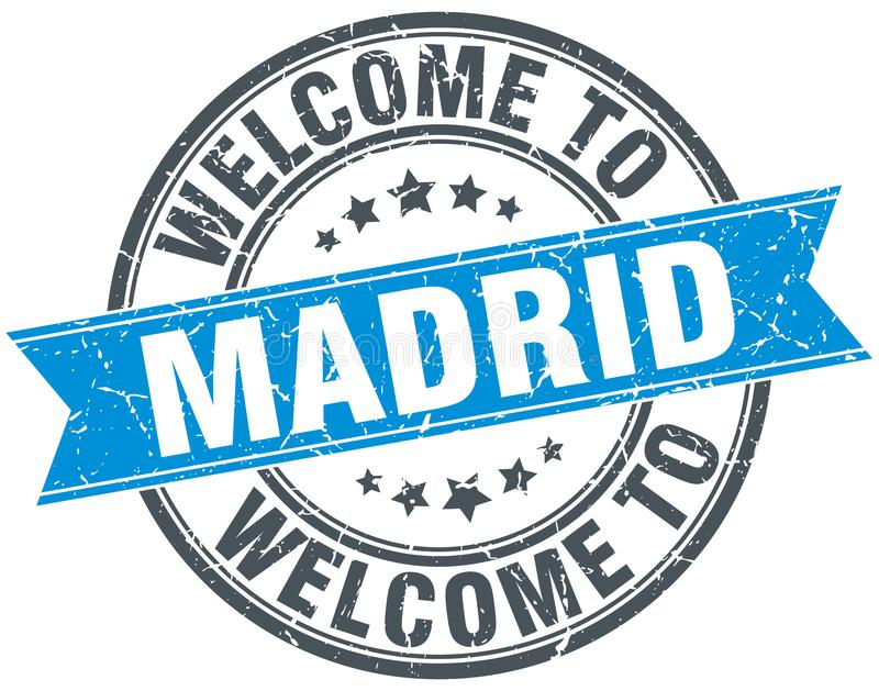 welcome to Madrid stamp stock illustration