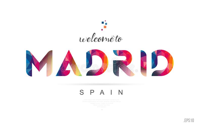 Welcome to madrid spain card and letter design typography icon stock illustration