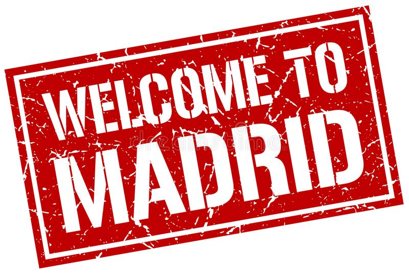 Welcome to Madrid stamp. Welcome to Madrid square grunge stamp isolated on white background. Madrid royalty free illustration