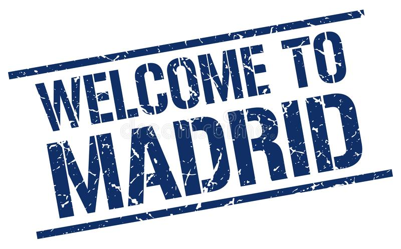 Welcome to Madrid stamp. Welcome to Madrid square grunge stamp isolated on white background. Madrid stock illustration
