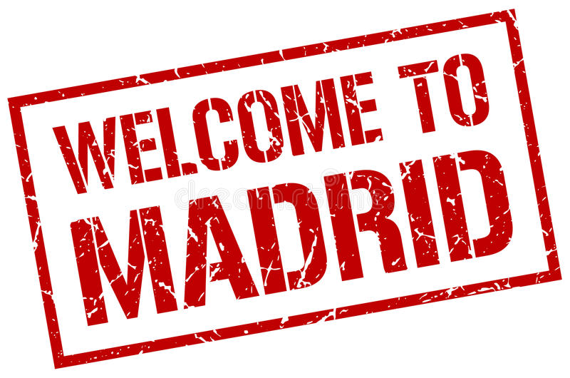 Welcome to Madrid stamp. Welcome to Madrid red stamp stock illustration
