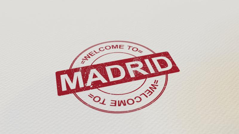 WELCOME TO MADRID stamp red print on the paper. 3D rendering stock illustration
