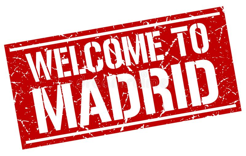 Welcome to Madrid stamp. Welcome to Madrid square grunge stamp isolated on white background. Madrid vector illustration