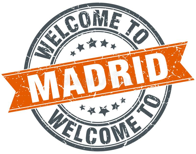 Welcome to Madrid stamp. Welcome to Madrid round grunge stamp isolated on white background. Madrid. welcome to Madrid stock illustration