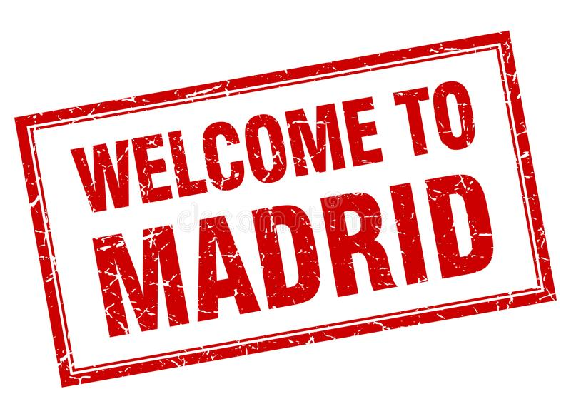 welcome to Madrid stamp royalty free illustration