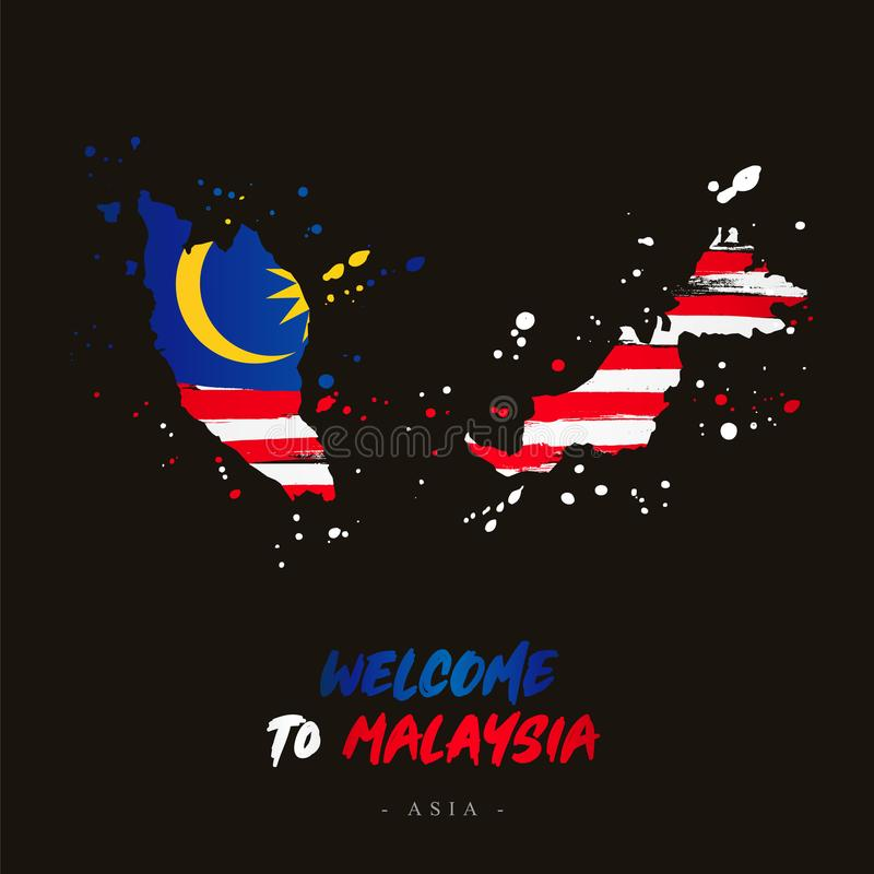 Welcome to Malaysia. Flag and map of the country royalty free illustration