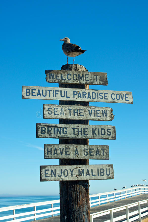 Download Welcome to Malibu Sign stock image. Image of seagull - 22803879