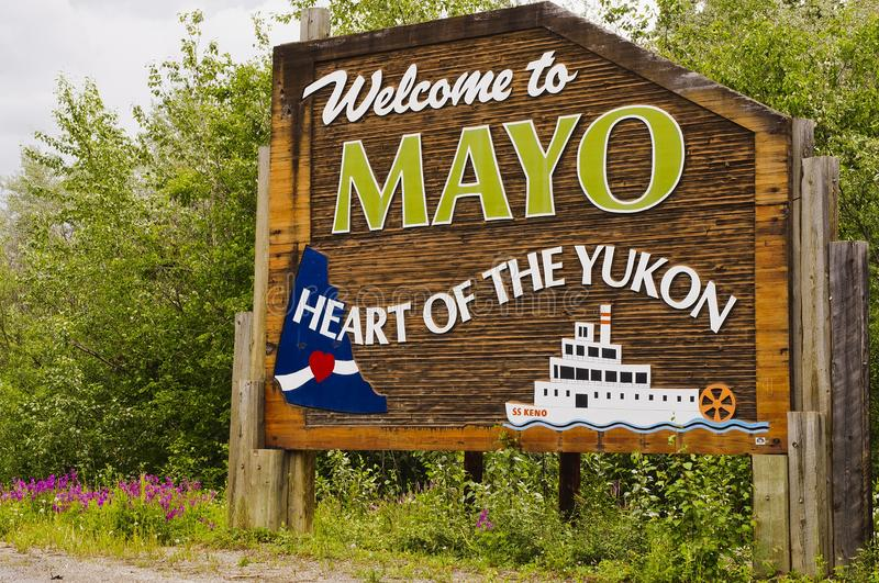 Welcome to Mayo sign in Yukon, Canada royalty free stock image