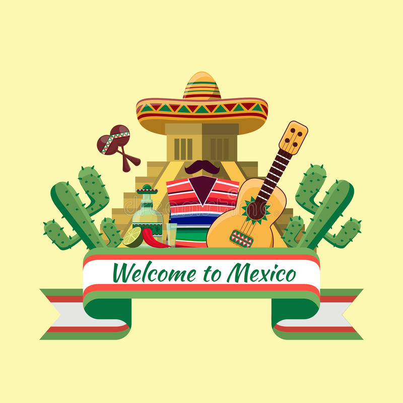 Welcome to mexico poster stock illustration