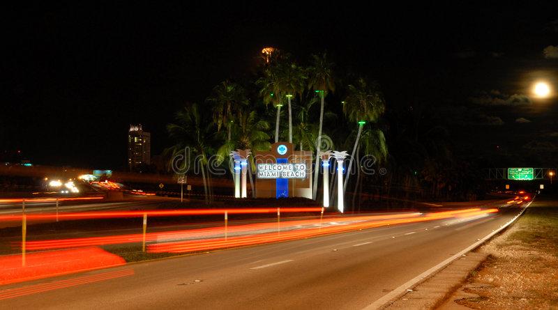 Welcome To Miami. Sign off interstate 195 heading into south beach royalty free stock photos