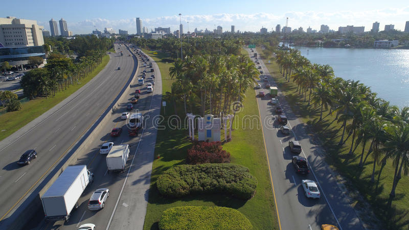 Welcome to Miami Beach sign. Aerial image of the welcome to miami beach sign on the julia tuttle causeway stock photo