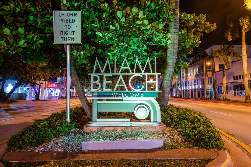 The Welcome to Miami Beach sign. That welcomes visitors crossing Biscayne Bay stock image