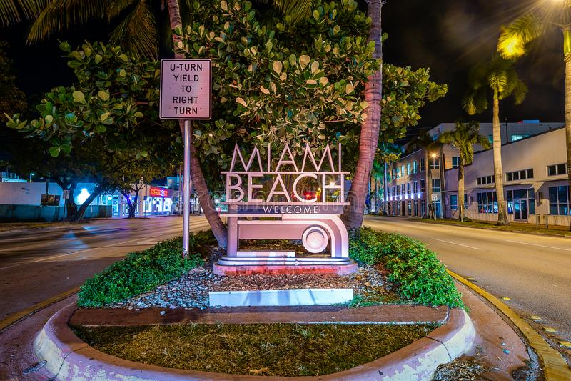 The Welcome to Miami Beach sign. That welcomes visitors crossing Biscayne Bay royalty free stock image