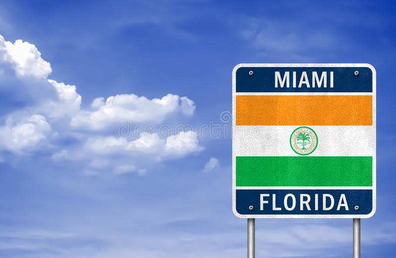 Welcome to Miami - Florida. Road sign stock photography
