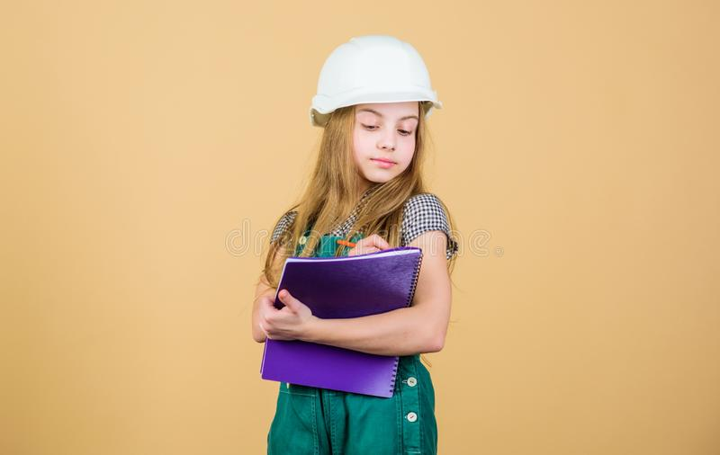 Welcome to my world. Builder engineer architect. Kid worker in hard hat. Child care development. Safety expert. Future. Profession. Foreman inspector. Repair stock photos