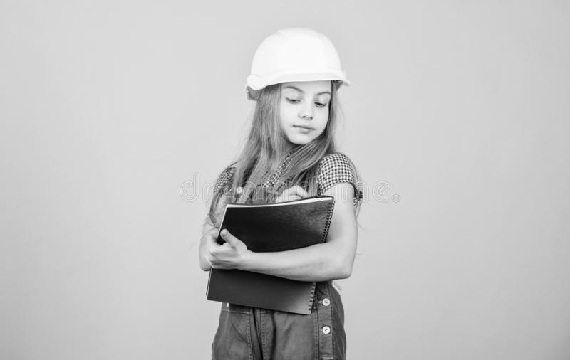 Welcome to my world. Builder engineer architect. Kid worker in hard hat. Child care development. Safety expert. Future. Profession. Foreman inspector. Repair royalty free stock photo