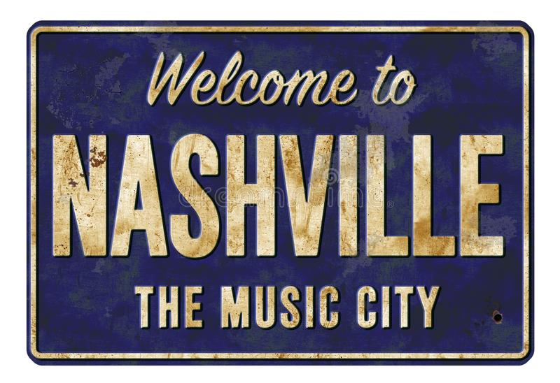 Welcome to Nashville the Music City Vintage Sign stock image