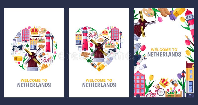 Welcome to Netherlands greeting cards, print or poster design template. Travel to Amsterdam vector flat illustration. Welcome to Netherlands greeting souvenir vector illustration